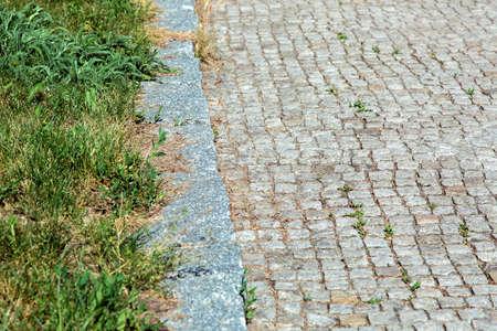 Camino de baldosas cuadradas de piedra con un bordillo al costado de la carretera crece hierba con malas hierbas de cerca.