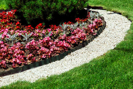 landscape design with plants strewn with pebbles along the flowerbed with a green lawn, close-up of flowers on a sunny day. Archivio Fotografico