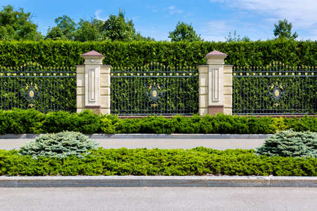asphalt road along the main fence with stone pillars and iron forged fence with greenery and evergreen thuja on a sunny day.