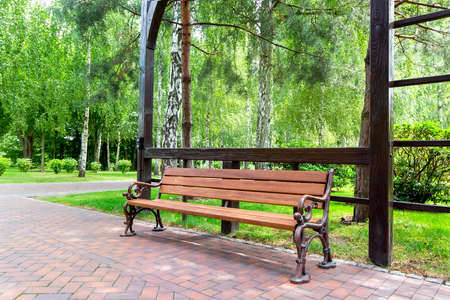 a bench with iron legs and a wooden seat from a board under a pergola arch in the garden with a green lawn and trees along the walkways.