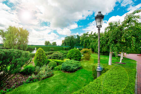 landscape design hedge and different green plants with a lantern with clouds in the sky and sunny glare. Stok Fotoğraf
