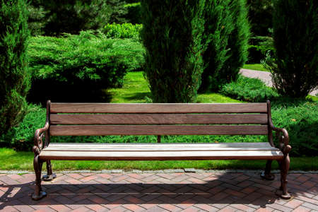 brown wooden bench with iron legs on the footpath made of red tiles in the background green spaces well maintained garden with thuja bushes and green lawn on a sunny summer day.