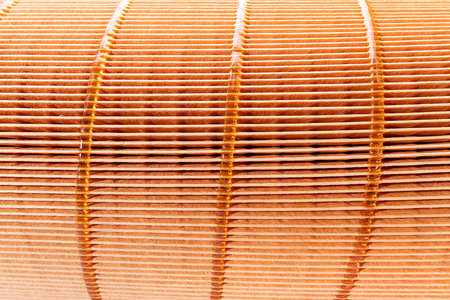 texture of orange paper filter air purification systems close up spare part. Stockfoto