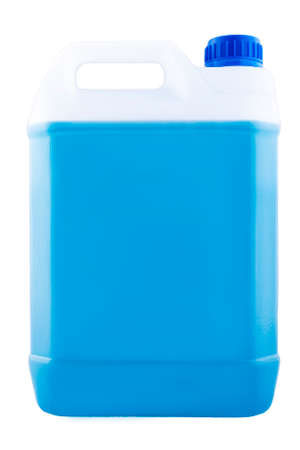 Plastic canister with a handle and a blue lid full of blue liquid, mock up object isolated on a white background.