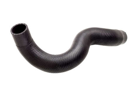 a car radiator pipe rubber black spare part isolated object on white background.
