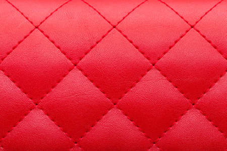 square red leather pattern stitched with thread seam, decorative texture of animal skin.