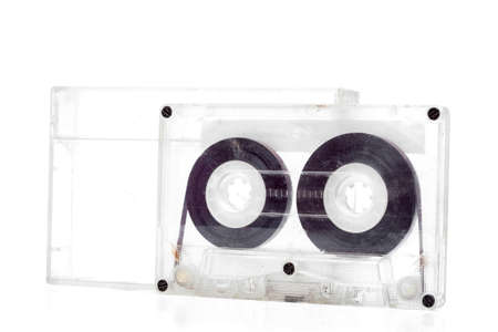 80s cassette tape on plastic cassette tape cases no label pack on white background side view.