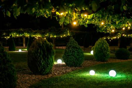 illumination backyard light garden with electric ground sphere lantern with stone mulch and thuja bush in outdoor landscaping park with garland of warm light bulbs, dark illuminate night scene nobody.