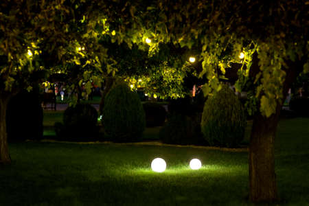 illumination backyard light garden with 2 ground lanterns with round diffuser lamp and garland of light bulbs on tree branches with leaves, dark landscaping with illuminate night scene, nobody. Zdjęcie Seryjne