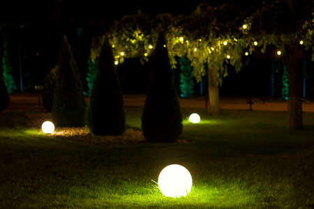 illumination backyard light garden with electric ground lantern with round diffuser near arborvitae and garland of light bulbs on tree branch with leaves, landscaping illuminate night scene, nobody.