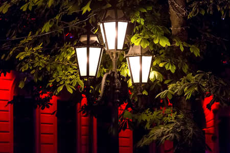 triple lamppost of street lighting in a park with trees green leaves illuminated by the light of lanterns in the background a building facade with a red glow, nobody.