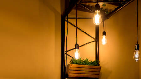 pendant edison bulbs in a cafe with wooden pots with green plants, vegetarian eco friendly interior style electric lighting close-up of glow details with copy space, nobody.