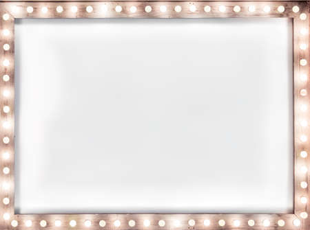 wooden frame with light bulbs illuminating a white canvas, a place for an advertising text, a mock up banner with an copy space, nobody.