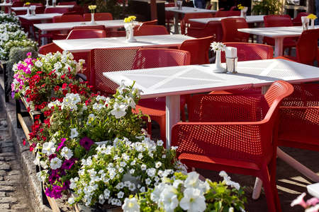 white perforated tables with red chairs of an outdoor street cafe with vases and blooming petunias on pot, terrace city cafe a sunny day, nobody.