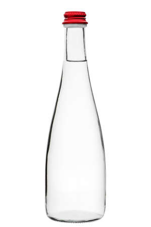 glass bottle with a long thin neck and a red cap, mock up tare filled with a transparent liquid of mineral water isolated on a white background.