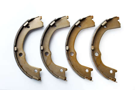 brake shoes for drum brakes, spare parts for car consumables for service and maintenance of auto transport isolated objects on a white background side view, nobody.