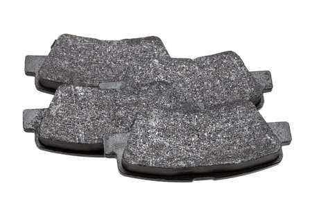 set of brake pads car spare parts, vehicle brakes objects kit isolated on white background view on asbestos alloy, nobody.