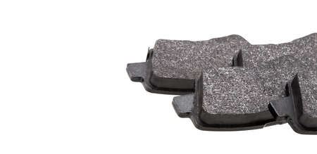 kit of brake pads car spare parts, vehicle brakes objects kit isolated on white background view on asbestos alloy with copy space, nobody.