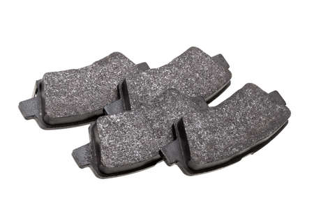 set of brake pads car spare parts, vehicle brakes system objects isolated on white background, nobody.