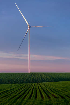 offshore windmill turbine generate electricity in a green field eco friendly production against blue sky on sunset, nobody.
