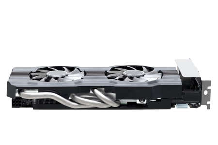 video card with heat pipes and dual fans for cooling the gaming accelerator for video games and high fps, computer parts technical device for upgrade isolated on white background. Stock fotó