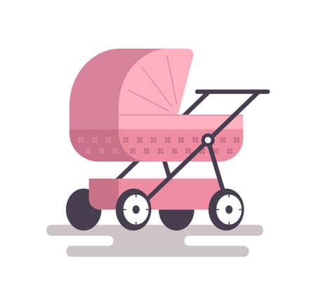 poussette bébé rose. illustration vectorielle