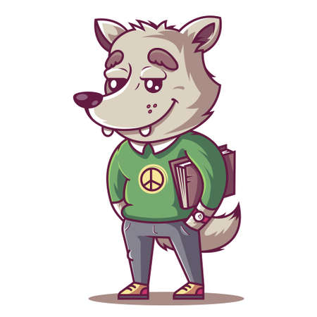 the wolf smiles. young student with a book. vector illustration 矢量图像