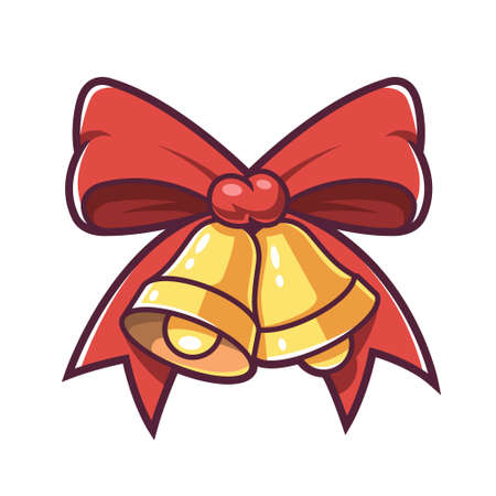 Christmas bells and red bow. Vector illustration.