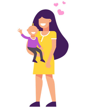Mom has a baby in her arms. they are happy. illustration Çizim
