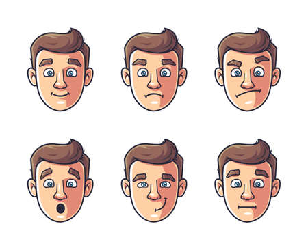 different emotions of one character. man's face in color. vector illustration Vetores