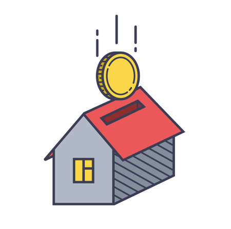 house icon and coin. property loan. vector illustration