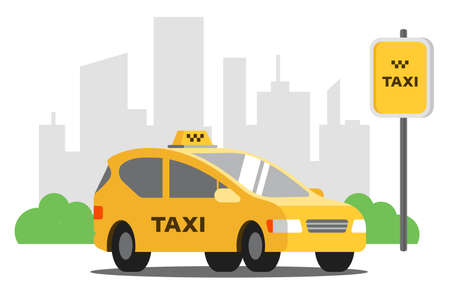 yellow taxi stands in the parking lot on the background of the city. vector illustration Illustration