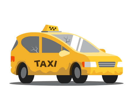 bad taxi. car in need of repair. vector illustration