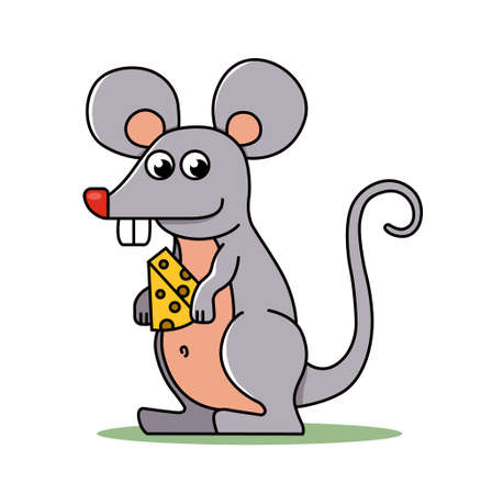 a small mouse holds in its paws a piece of cheese. character vector illustration.