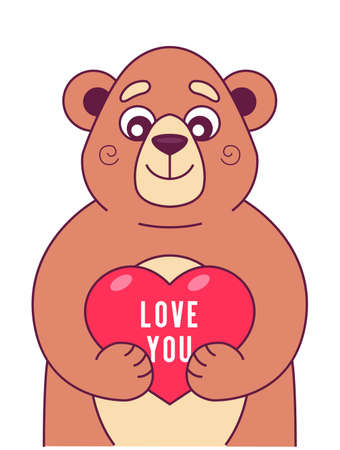 cute bear keeps heart in its paws. character vector illustration Ilustração