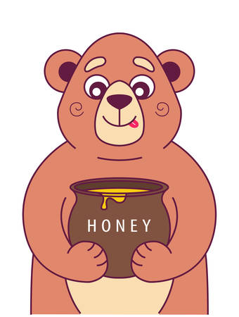hungry bear holds a pot of honey and licks. character vector illustration