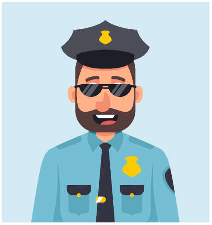 male policeman with glasses smiling in blue uniform. character vector illustration. Standard-Bild - 122949207