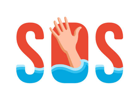drowning man in the water. sign sos. vector illustration