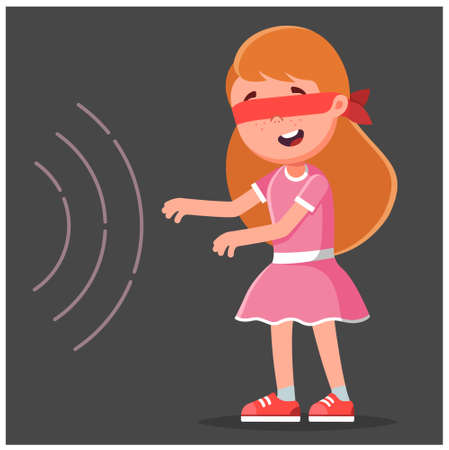 the girl goes to the sound in the blindfold. character vector illustration on black background