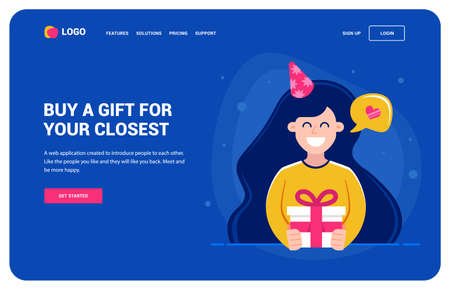 Website template for those who want a gift. Girl holding a gift and smiling. birthday party, character vector illustration. 일러스트