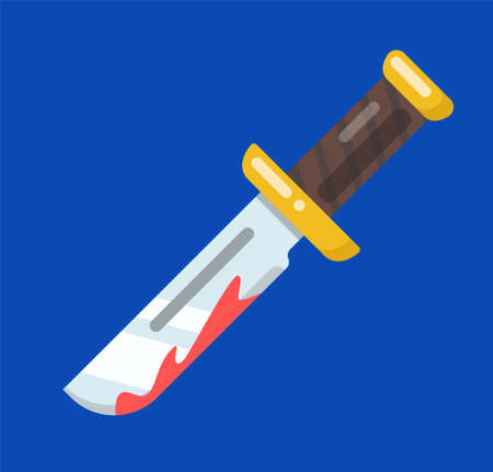 image of a knife with blood on the blade. icon Иллюстрация