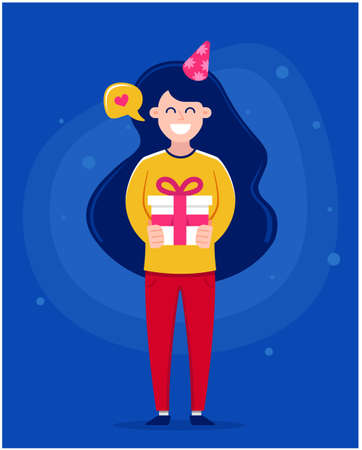 girl in full growth gives a gift to your loved one. celebrates birthday character vector illustration for postcard