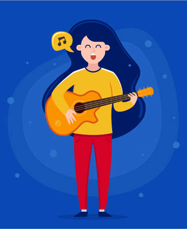 girl holding a guitar and singing a song. play music. character vector illustration