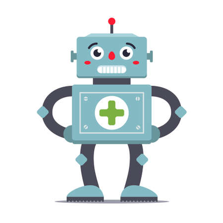 robot medic on a white background. futuristic hospital. character vector image