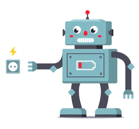 discharged the robot goes to the outlet to replenish its supply of energy. character vector illustration