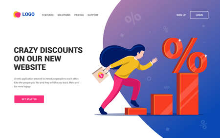 girl runs the diagram to the discount symbol. Web site. character vector illustration Illustration