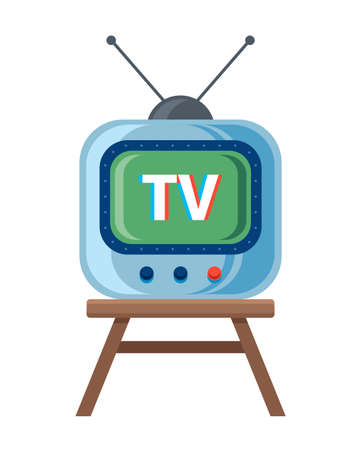 Retro TV with antenna is standing on the chair. White background. vector illustration