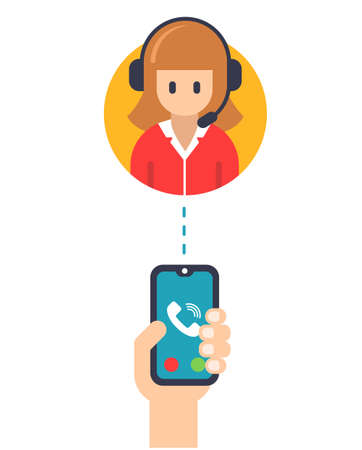 call service manager from a mobile phone. flat vector illustration icons. on a white background.