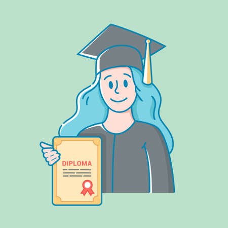 girl in a hat and gown holds a diploma in education in her hand. high school graduation. character image vector. flat design