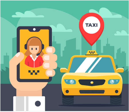 Flat illustration of a taxi order. car tagged. The hand holds the phone and speaks with the taxi operator. vector. Vetores
